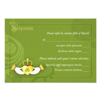 Irish Claddagh Heart Wedding RSVP Cards 3 5x5 Custom Invite