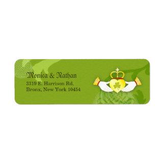 Irish Claddagh Ring Wedding Return Address Label