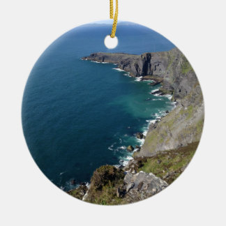 Irish Cliffs In Dingle Ireland By The Ocean Round Ceramic Ornament
