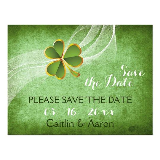 Irish clover and veil green wedding Save the Date Postcard