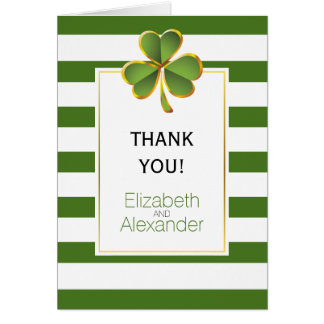 Irish clover green white stripes wedding Thank You Card