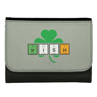 Irish cloverleaf chemical element Zz37b Leather Wallet