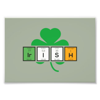 Irish cloverleaf chemical element Zz37b Photo Print