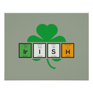 Irish cloverleaf chemical element Zz37b Poster