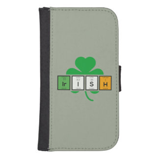 Irish cloverleaf chemical element Zz37b Samsung S4 Wallet Case