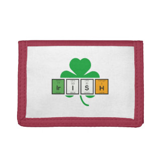 Irish cloverleaf chemical element Zz37b Trifold Wallet