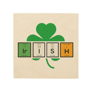 Irish cloverleaf chemical element Zz37b Wood Wall Decor