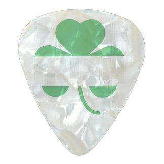 Irish cloverleaf shamrock Z2n9r Pearl Celluloid Guitar Pick