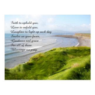 Irish Coastline and Prayer Custom Postcard