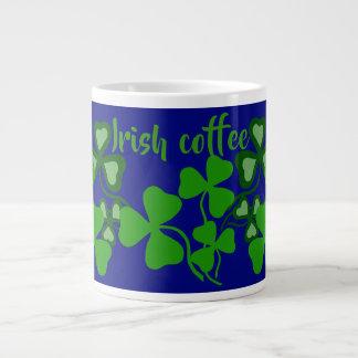 Irish coffee, Ireland shamrock, blue, clover 9a Large Coffee Mug