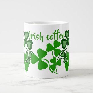 Irish coffee, Ireland shamrock, white, clover 9a Large Coffee Mug