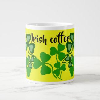 Irish coffee, Ireland shamrock, yellow, clover 9a Large Coffee Mug