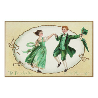 Irish Couple Dancing Vintage St Patrick's Day Poster