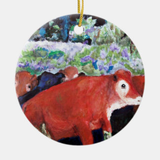 Irish Cows, Original Art, Ireland Ceramic Ornament