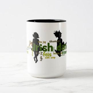 Irish Dance Wordle - Black Two-Tone Coffee Mug