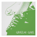 Irish Dancer Ghillie Girl Green Poster