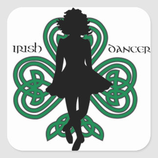 Irish Dancer Hardshoe/Forest Green Heart Shamrock Square Sticker
