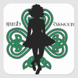Irish Dancer Hardshoe/Forest Green Heart Shamrock Square Stickers