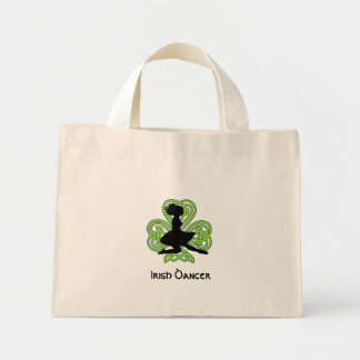 Irish Dancer Leaping Celtic Shamrock Mini Tote Bag