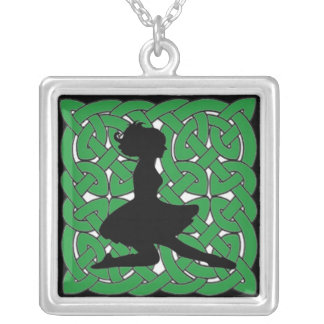 Irish Dancer on Green Celtic Knot Silver Plated Necklace