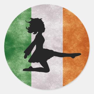Irish Dancer on Irish Flag Stickers