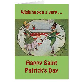 irish dancers vintage greeting card