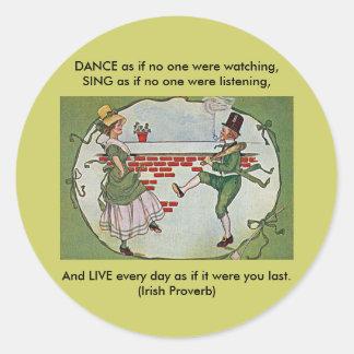 irish dancers vintage round sticker