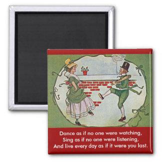 irish dancers vintage square magnet