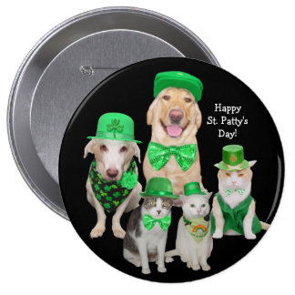 Irish Dogs & Cats St. Patrick's Day 4 Inch Round Button