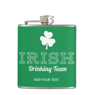 Irish Drinking Team Funny St. Patricks Day Green Hip Flask