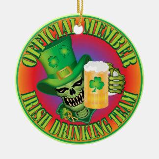 Irish Drinking Team Skull Round Ceramic Ornament