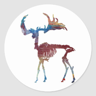 Irish Elk Skeleton Round Sticker