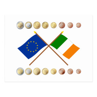 Irish Euros and EU & Ireland Flags Postcard