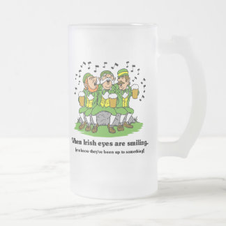 Irish eyes are smiling frosted glass beer mug