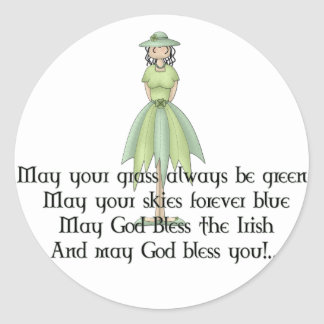 Irish Fairy Girl 1 - Irish Quote Round Sticker