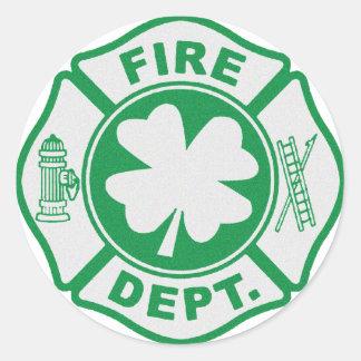 Irish Fire Dept Round Stickers