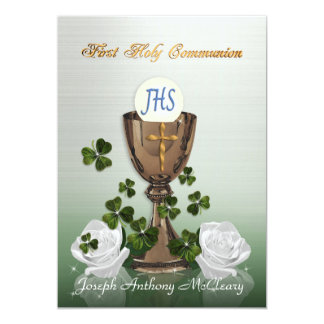 "Irish First Communion invitation with shamrocks 5"" X 7"" Invitation Card"