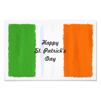 Irish flag, banner, St. Patrick's Day watercolor Photo Print