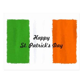 Irish flag, banner, St. Patrick's Day watercolor Postcard