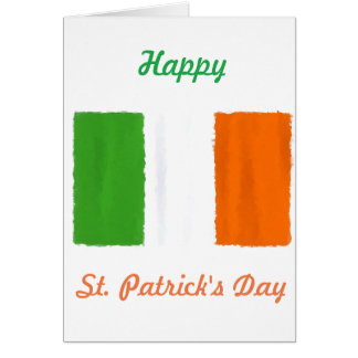 Irish flag, banner, tricolor watercolor card