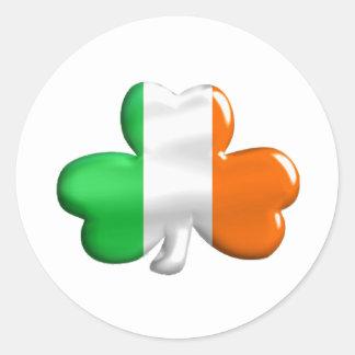 Irish Flag Clover Classic Round Sticker
