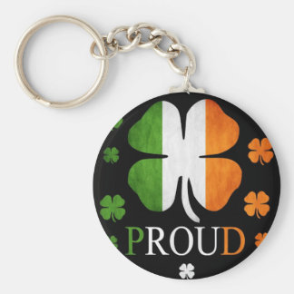 Irish flag four leaf clover keychain