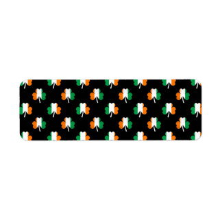 Irish Flag-Green/White/Orange-Colored Shamrocks Return Address Label