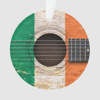 Irish Flag on Old Acoustic Guitar Ornament