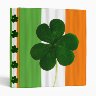 Irish Flag Shamrock Clover Ireland St. Patrick 3 Ring Binder