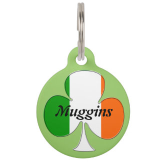 Irish Flag Shamrock Pet ID Tag
