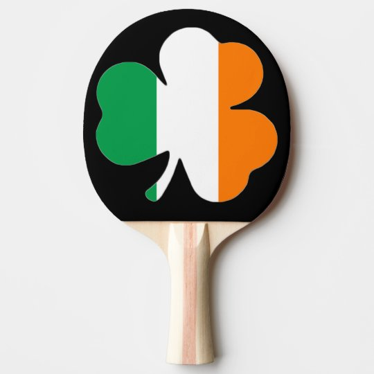 Irish Flag Shamrock Ping Pong Bat Paddle