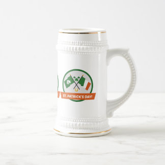 Irish Flag Shamrocks and St Patrick Beer Stein