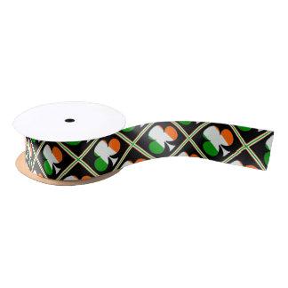 Irish Flag Shamrocks Pattern Satin Ribbon