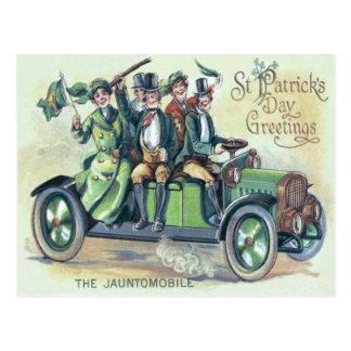 Irish Flag Shillelagh Green Car Shamrock Postcard
